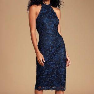 Lulus NavyBlue Lace Halter HighNeck Cocktail dress